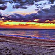 Hillsboro Beach Orange Sunset Hdr Art Print
