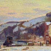 Hillside At Croisset Under Snow Art Print