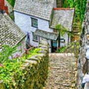 Hillside Cottages In Clovelly, Devon, Uk Art Print