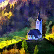 Hilltop Church In Misty Mountain Forest Art Print