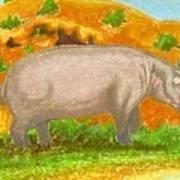 Hippo In The Savanna Art Print