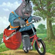 Hippo Post Man On Cycle Art Print