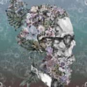 Hipster Floral Skull 2 Art Print