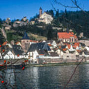 Hirschhorn Village On The Neckar Art Print