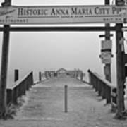 Historic Anna Maria City Pier In Fog Infrared 52 Art Print