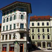 Historic Art Nouveau Buildings At Preseren Square White Tiled Ha Art Print