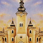 Historic Church And Town Square, Graphic Work From Painting. Art Print