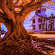 Historic Fermin Point Lighthouse In Infrared Art Print