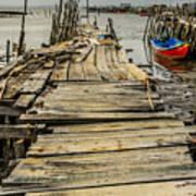 Historic Fishing Pier In Portugal I Art Print