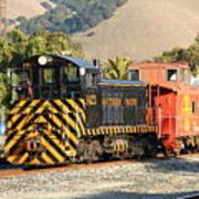 Historic Niles Trains In California . Old Southern Pacific Locomotive And Sante Fe Caboose . 7d10821 Art Print