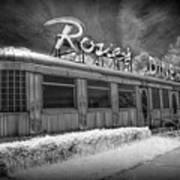 Historic Rosie's Diner In Black And White Infrared Art Print