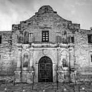 Historic San Antonio Alamo Mission - Black And White Edition Art Print