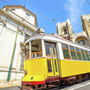 Historic Tram And Lisbon Cathedral Art Print