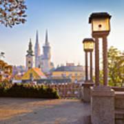 Historic Zagreb Towers Sunrise View Art Print