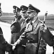 Hitler Shaking Hands With Heinrich Himmler Unknown Date Or Location Art Print