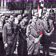Hitler With Nazi Entourage Hess And Himmler In 2nd Row Circa 1935 Color Added 2016 Art Print