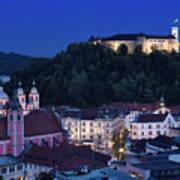 Hlltop Ljubljana Castle Overlooking The Old Town Of Ljubljana Ca Art Print