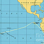 H.m.s. Beagle Course To Galapagos Art Print