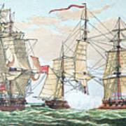 Hms Shannon Vs The American Chesapeake Art Print