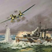 Hms Ulysses Attacked By Heinkel IIis Off North Cape Art Print