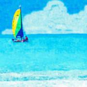 Hobie Sailing Off Lido Beach Coast Art Print