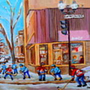 Hockey At Beautys Deli Art Print by Carole Spandau