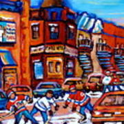 Hockey At Fairmount Bagel Art Print