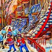 Hockey Game Near The Red Staircase Art Print
