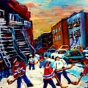 Hockey Paintings Of Montreal St Urbain Street City Scenes Art Print