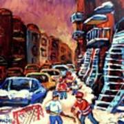 Hockey Paintings Of Montreal St Urbain Street Winterscene Art Print