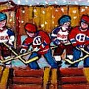Hockey Rink Paintings New York Rangers Vs Habs Original Six Teams Hockey Winter Scene Carole Spandau Art Print