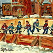 Hockey Rinks In Montreal Art Print by Carole Spandau