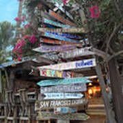 Hogfish Bar And Grill Directional Sign Art Print