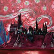 Hogwarts Starry Night In Red Art Print