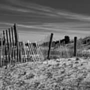 Holding Back The Dunes In Black And White Art Print