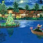 Holiday Delivery At Whisper Lake  Art Print