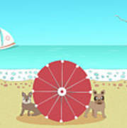 Holiday Romance Behind The Red Umbrella Art Print