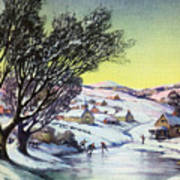 Holiday Winter Snow Scene Children Skating On Frozen Pond Art Print