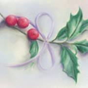 Holly Sprig With Bow Art Print