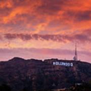 Hollywood Sign At Sunset Art Print