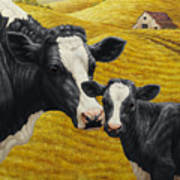 Holstein Cow And Calf Farm Print by Crista Forest