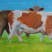 Holstein Friesian Cow And Brown Cow Art Print