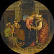 Holy Family With Saints John Elisabeth And Zacharias Art Print