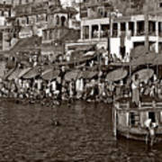 Holy Ganges Monochrome Art Print