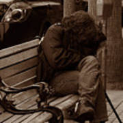 Homeless - Sepia Art Print