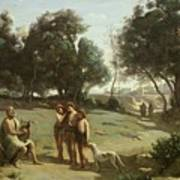 Homer And The Shepherds In A Landscape Art Print by Jean Baptiste Camille Corot