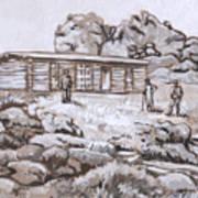 Homestead On Brush Creek Historical Vignette Art Print
