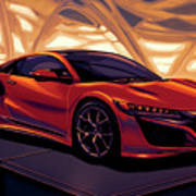 Honda Acura Nsx 2016 Mixed Media Art Print
