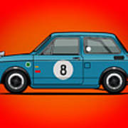 Honda N600 Blue Kei Race Car Art Print