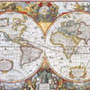 Hondius World Map, 1630 Art Print by Photo Researchers